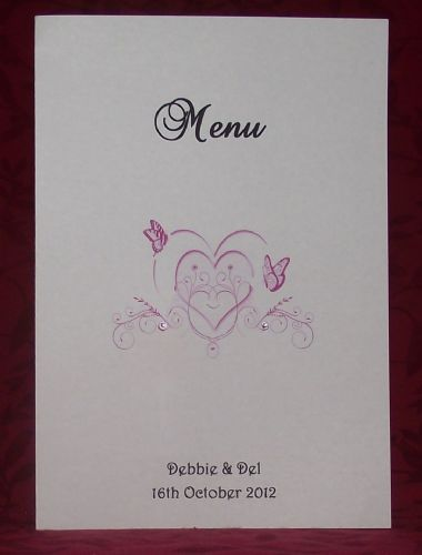 Menu with insert  Personalised Butterfly Heart design for weddings or any occasion various colours